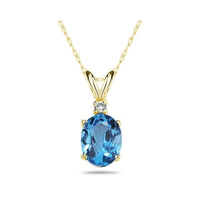 9X7mm Oval Blue Topaz and Diamond Stud Pendant in 14K Yellow Gold