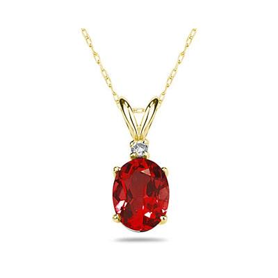 6X4mm Oval Ruby and Diamond Stud Pendant in 14K Yellow Gold