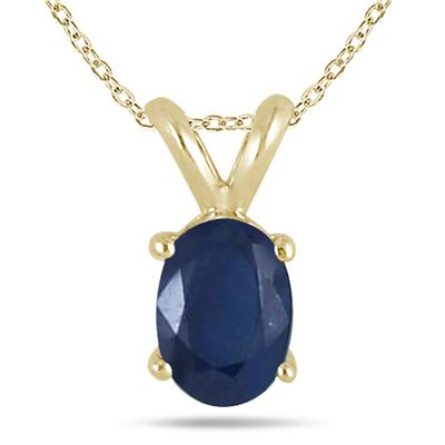 All-Natural Genuine 5x3 mm, Oval Sapphire pendant set in 14k Yellow gold