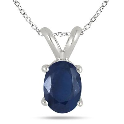 All-Natural Genuine 7x5 mm, Oval Sapphire pendant set in 14k White Gold
