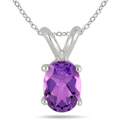 All-Natural Genuine 8x6 mm, Oval Amethyst pendant set in 14k White Gold