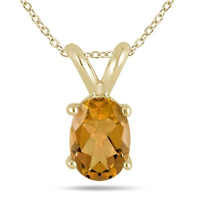 All-Natural Genuine 8x6 mm, Oval Citrine pendant set in 14k Yellow gold