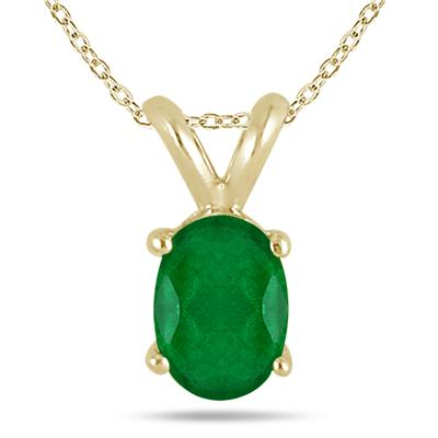All-Natural Genuine 8x6 mm, Oval Emerald pendant set in 14k Yellow gold