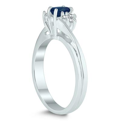 5X3MM Sapphire and Diamond Twist Ring in 10K White Gold