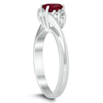 6X4MM Ruby and Diamond Twist Ring in 10K White Gold