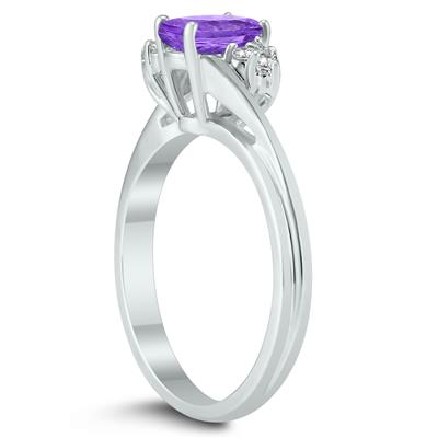 7X5MM Amethyst and Diamond Twist Ring in 10K White Gold
