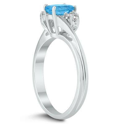 7X5MM Blue Topaz and Diamond Twist Ring in 10K White Gold