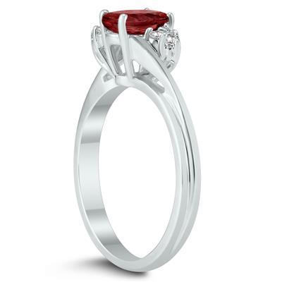 7X5MM Garnet and Diamond Twist Ring in 10K White Gold