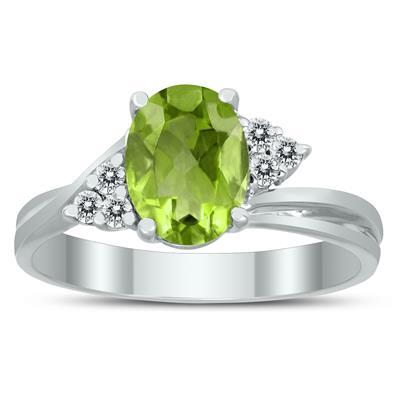 8X6MM Peridot and Diamond Twist Ring in 10K White Gold