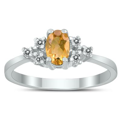 6X4MM Citrine and Diamond Regal Ring in 10K White Gold