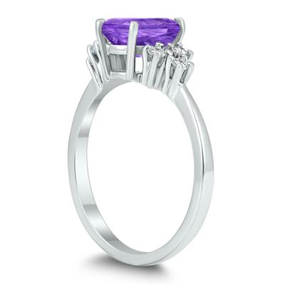 8X6MM Amethyst and Diamond Regal Ring in 10K White Gold