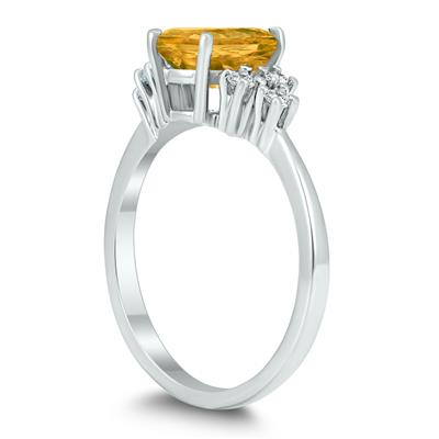 8X6MM Citrine and Diamond Regal Ring in 10K White Gold
