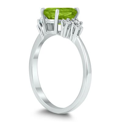8X6MM Peridot and Diamond Regal Ring in 10K White Gold
