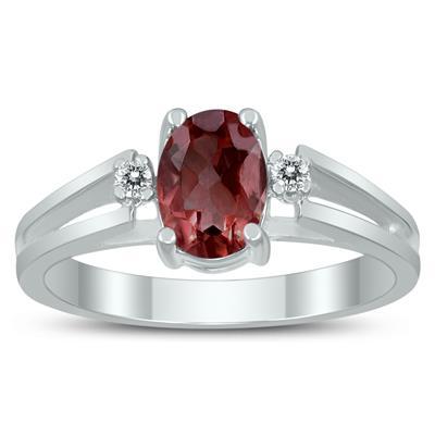 7X5MM Garnet and Diamond Open Three Stone Ring in 10K White Gold