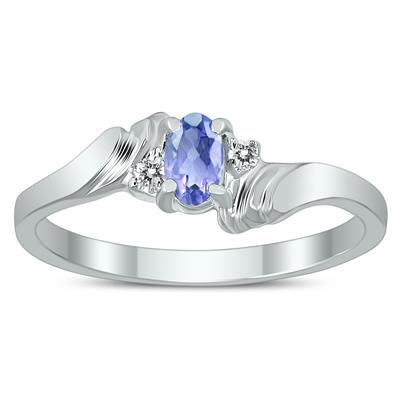 5X3MM Tanzanite and Diamond Wave Ring in 10K White Gold