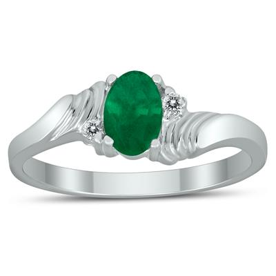 6X4MM Emerald and Diamond Wave Ring in 10K White Gold