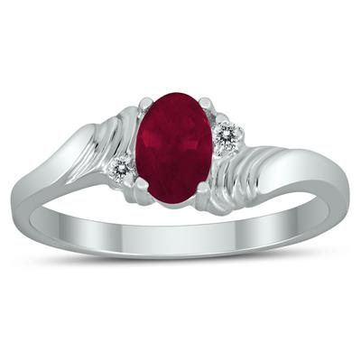 6X4MM Ruby and Diamond Wave Ring in 10K White Gold