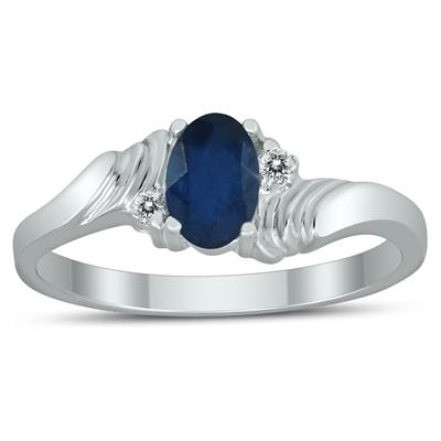 6X4MM Sapphire and Diamond Wave Ring in 10K White Gold