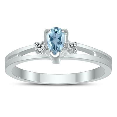 5X3MM Aquamarine and Diamond Pear Shaped Open Three Stone Ring in 10K White Gold