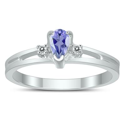 5X3MM Tanzanite and Diamond Pear Shaped Open Three Stone Ring in 10K White Gold