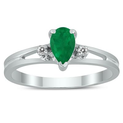 6X4MM Emerald and Diamond Pear Shaped Open Three Stone Ring in 10K White Gold