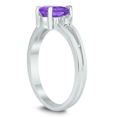 7X5MM Amethyst and Diamond Pear Shaped Open Three Stone Ring in 10K White Gold