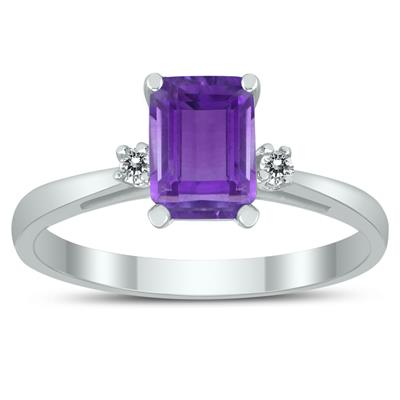 Emerald Cut 7X5MM Amethyst and Diamond Three Stone Ring in 10K White Gold