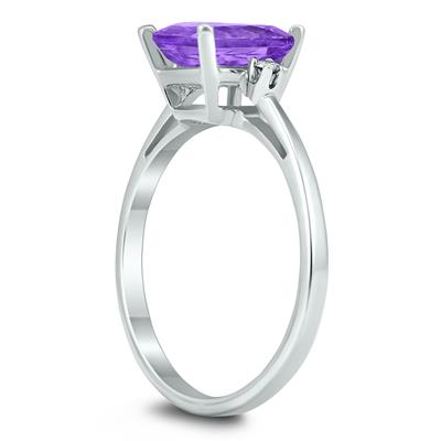 Emerald Cut 8X6MM Amethyst and Diamond Three Stone Ring in 10K White Gold