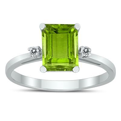 Emerald Cut 8X6MM Peridot and Diamond Three Stone Ring in 10K White Gold