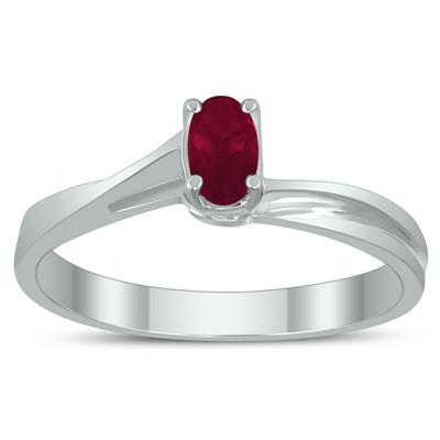 Solitaire Oval 5X3MM Ruby Gemstone Twist Ring in 10K White Gold