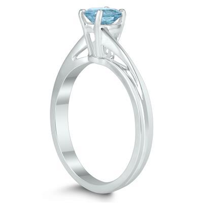 Solitaire Oval 6X4MM Aquamarine Gemstone Twist Ring in 10K White Gold