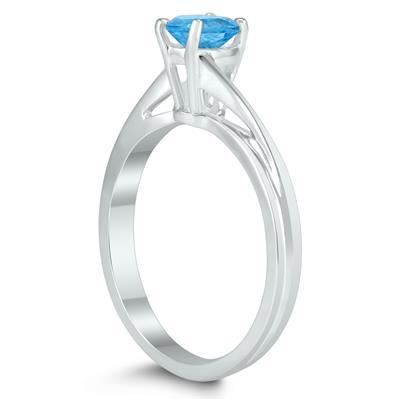 Solitaire Oval 6X4MM Blue Topaz Gemstone Twist Ring in 10K White Gold
