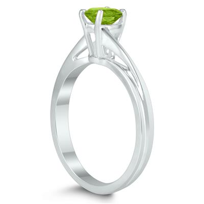 Solitaire Oval 6X4MM Peridot Gemstone Twist Ring in 10K White Gold