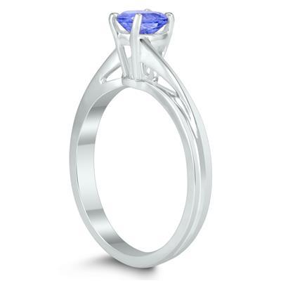 Solitaire Oval 6X4MM Tanzanite Gemstone Twist Ring in 10K White Gold