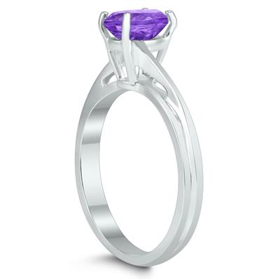 Solitaire Oval 7X5MM Amethyst Gemstone Twist Ring in 10K White Gold