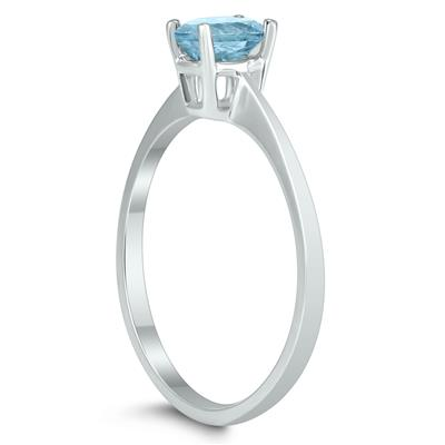 Oval Solitaire 6X4MM Aquamarine Ring in 10K White Gold