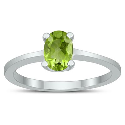 Oval Solitaire 7X5MM Peridot Ring in 10K White Gold