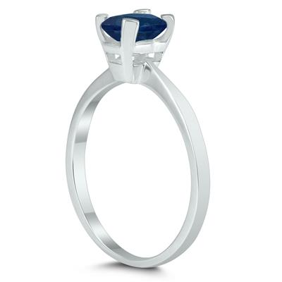 Emerald Shaped 6X4MM Sapphire Solitaire Ring in 10K White Gold
