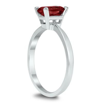 Emerald Shaped 7X5MM Garnet Solitaire Ring in 10K White Gold