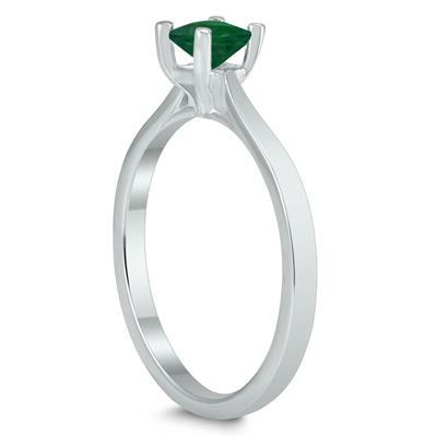 Square Princess Cut 4MM Emerald Solitaire Ring in 10K White Gold