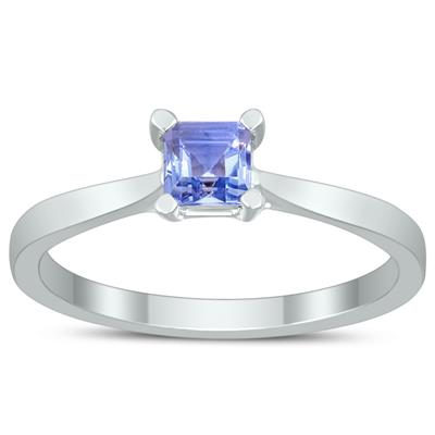 Square Princess Cut 4MM Tanzanite Solitaire Ring in 10K White Gold