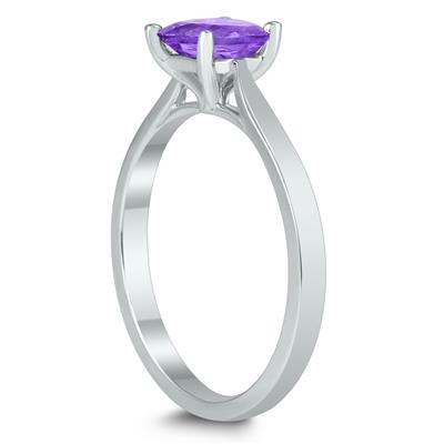Square Princess Cut 5MM Amethyst Solitaire Ring in 10K White Gold