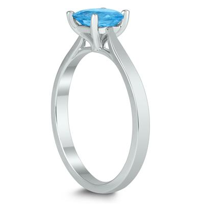 Square Princess Cut 5MM Blue Topaz Solitaire Ring in 10K White Gold