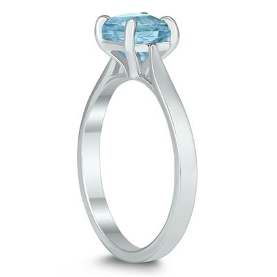 Square Princess Cut 6MM Aquamarine Solitaire Ring in 10K White Gold