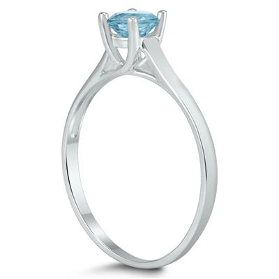 Round 4MM Aquamarine Cathedral Solitaire Ring in 10K White Gold