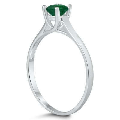Round 4MM Emerald Cathedral Solitaire Ring in 10K White Gold