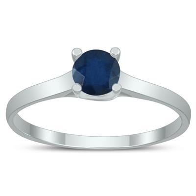 Round 4MM Sapphire Cathedral Solitaire Ring in 10K White Gold