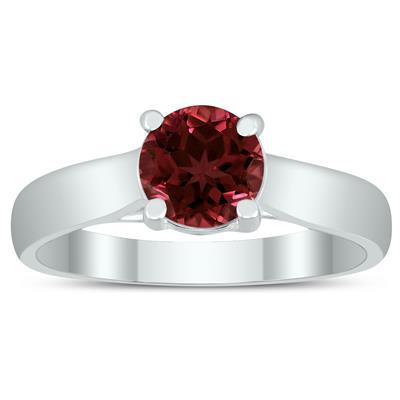 Round 6MM Garnet Cathedral Solitaire Ring in 10K White Gold