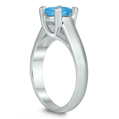 Round 7MM Blue Topaz Cathedral Solitaire Ring in 10K White Gold