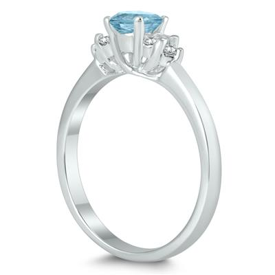 4MM Aquamarine and Diamond Cynthia Ring in 10K White Gold